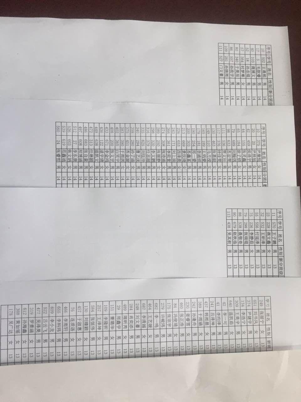 广饶实验中学六年级分班表