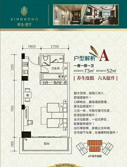 出售绿岛星空1室2厅豪装实木家具58万元