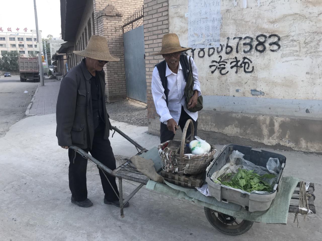 龙山镇推三轮车卖菠菜的老大爷笑容慈祥