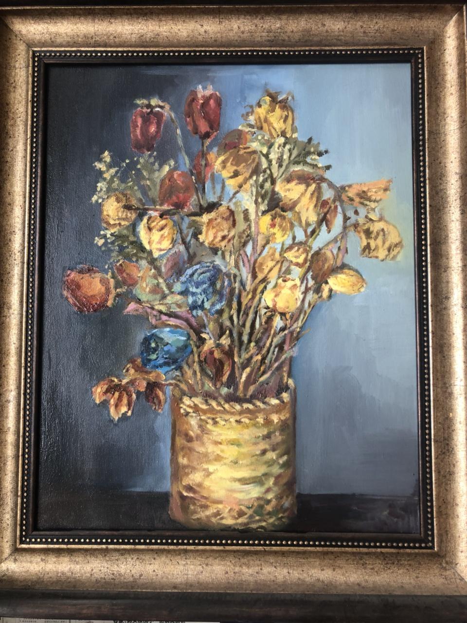 油画花卉,带画框.600