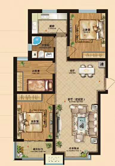 天鹅湖3室 ,带小院,可贷款,管更名