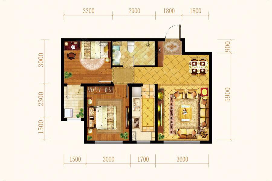 金成湖镜台2室 1厅 1卫55万元