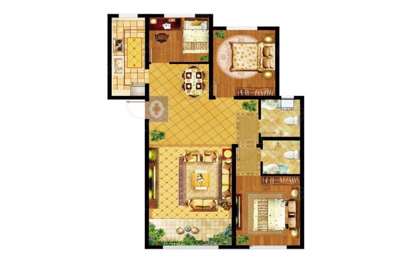 金成湖镜台 3室 2厅 1卫66万元
