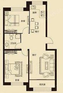 田园居2室 2厅 1卫50万元