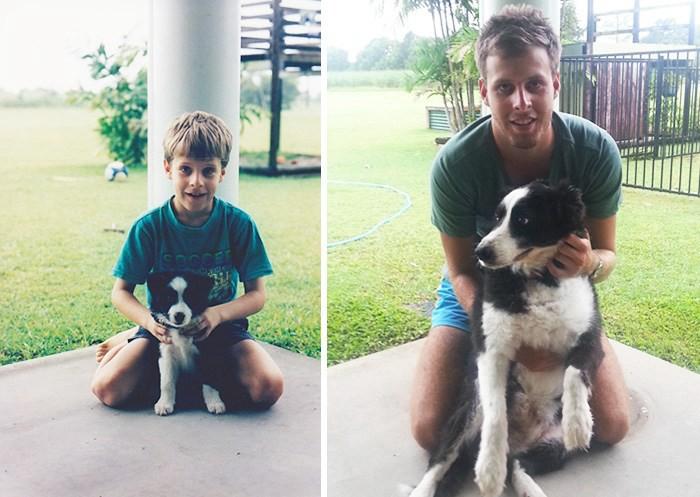 暖心!小主人和自家的狗狗一起长大是一件非常了不起并且十分幸福的事情