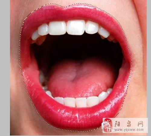 使用ps中的套索工具选择唇部区域