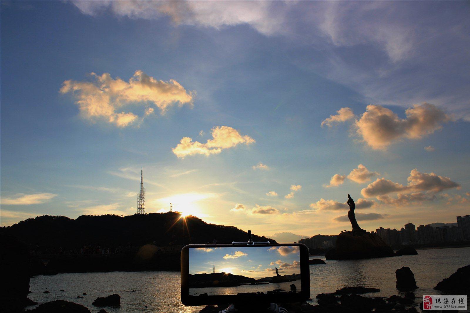 珠海天空出现五彩云,珠海渔女更迷人