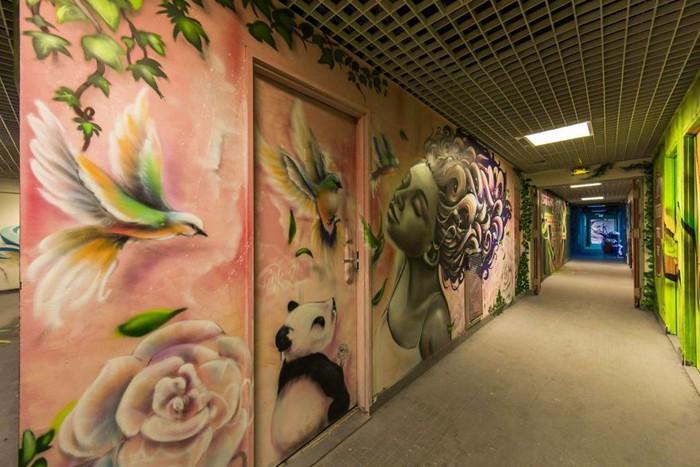学生们用自己的想象力和创造力在宿舍装饰墙上涂鸦结果还是让不少人震惊