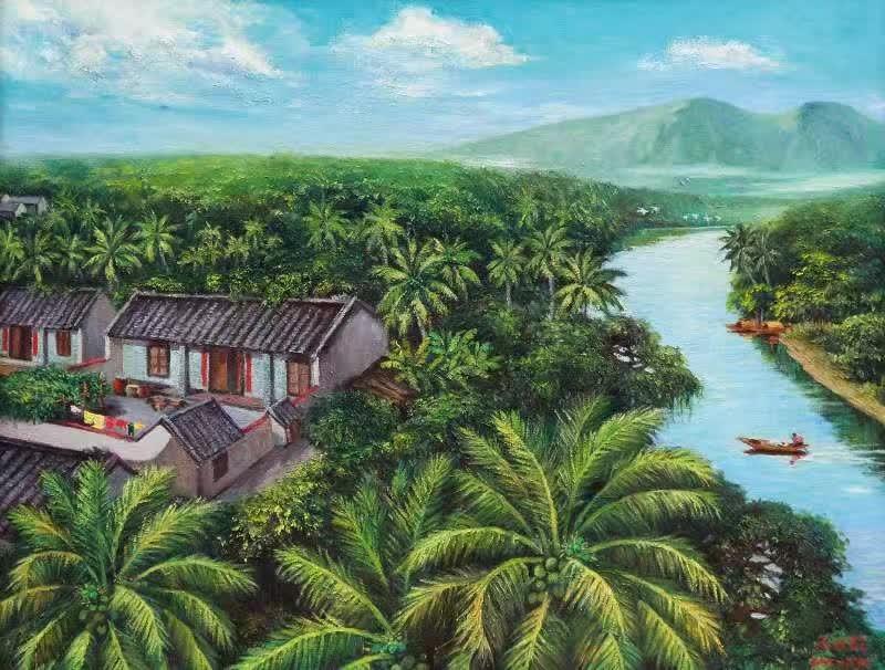 海边椰树油画名家作品