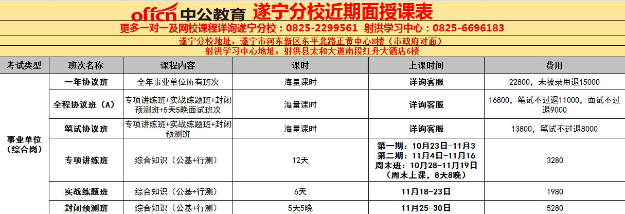 下半年事业单位公招培训班10月23日开课