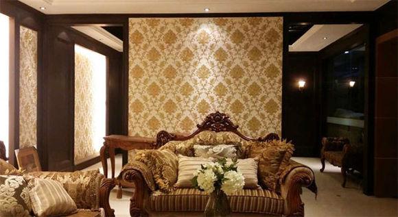 欧式棕色印花墙布贴图