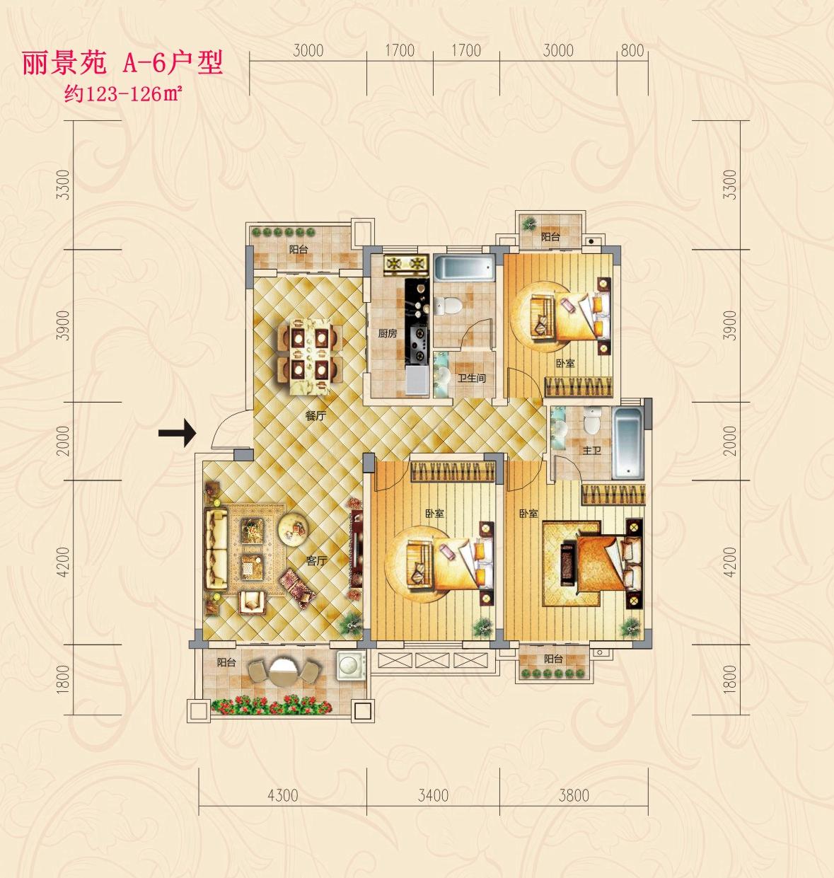 1,稀缺楼梯房:三房两厅两卫四阳台,约125平方米.