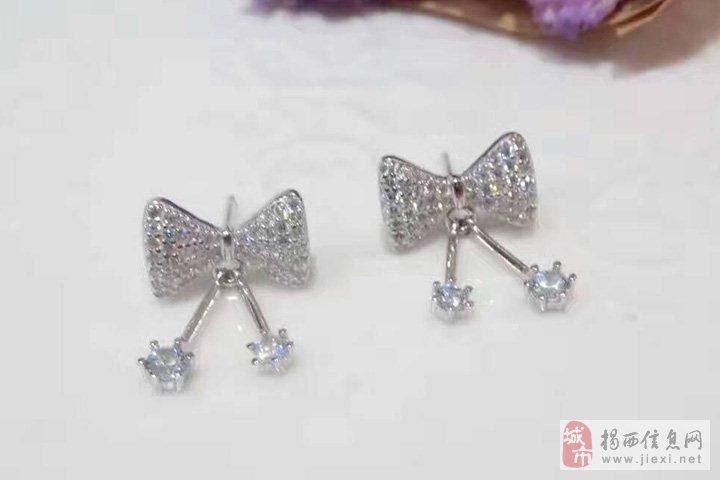 亚西亚银饰批发-明星同款蝴蝶结耳环,925银饰