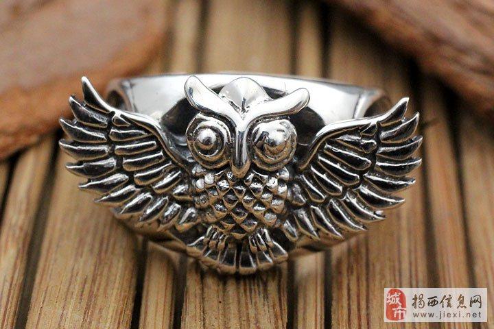亚西亚银饰批发-猫头鹰高档泰银戒指,925银饰批发