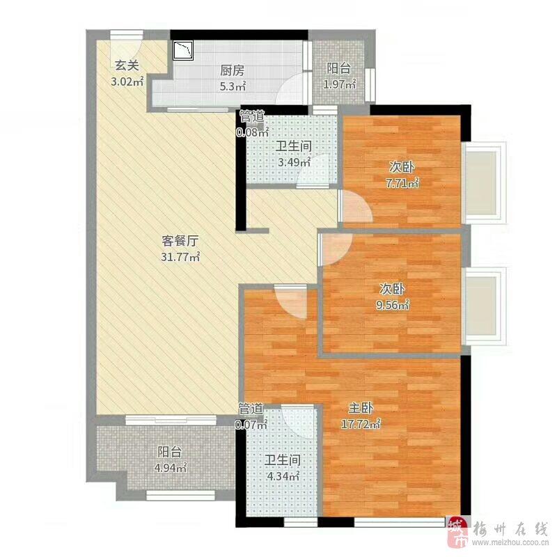 108萬,恒大御景半島10樓東南向3房2廳2衛帶裝修