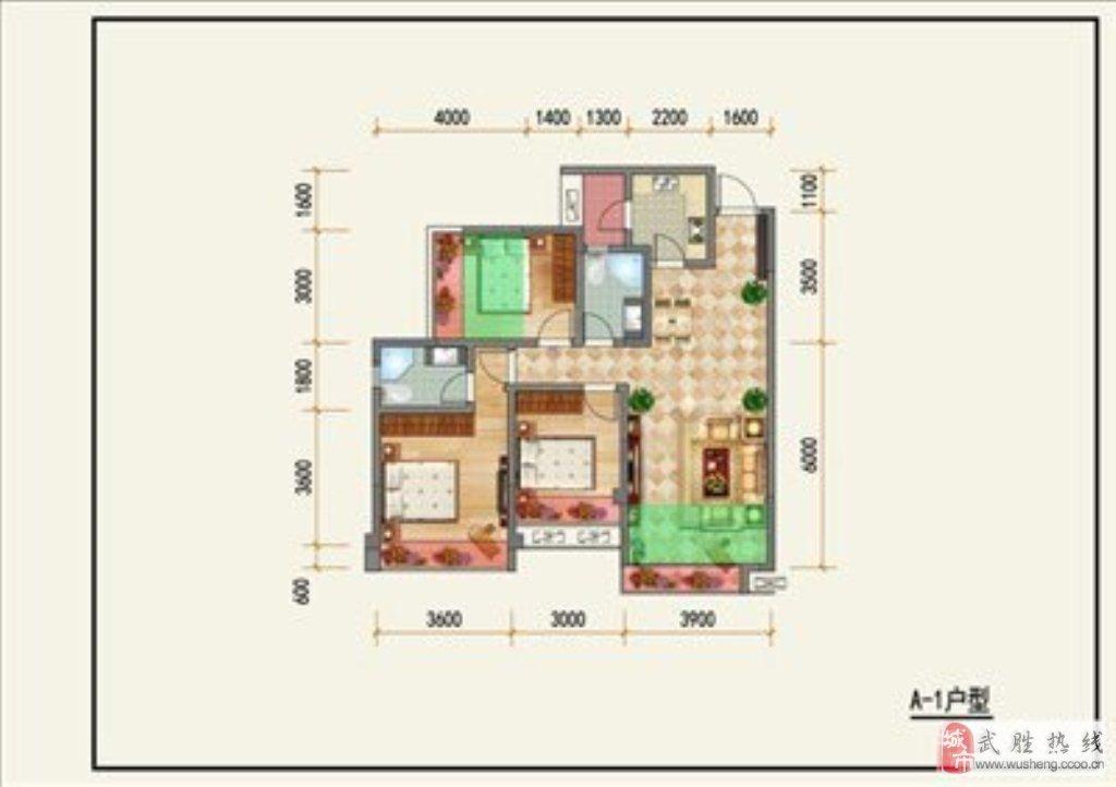 上东华府3室2厅2卫60万元