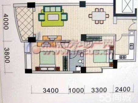 海虹家园2室2厅1卫88万元
