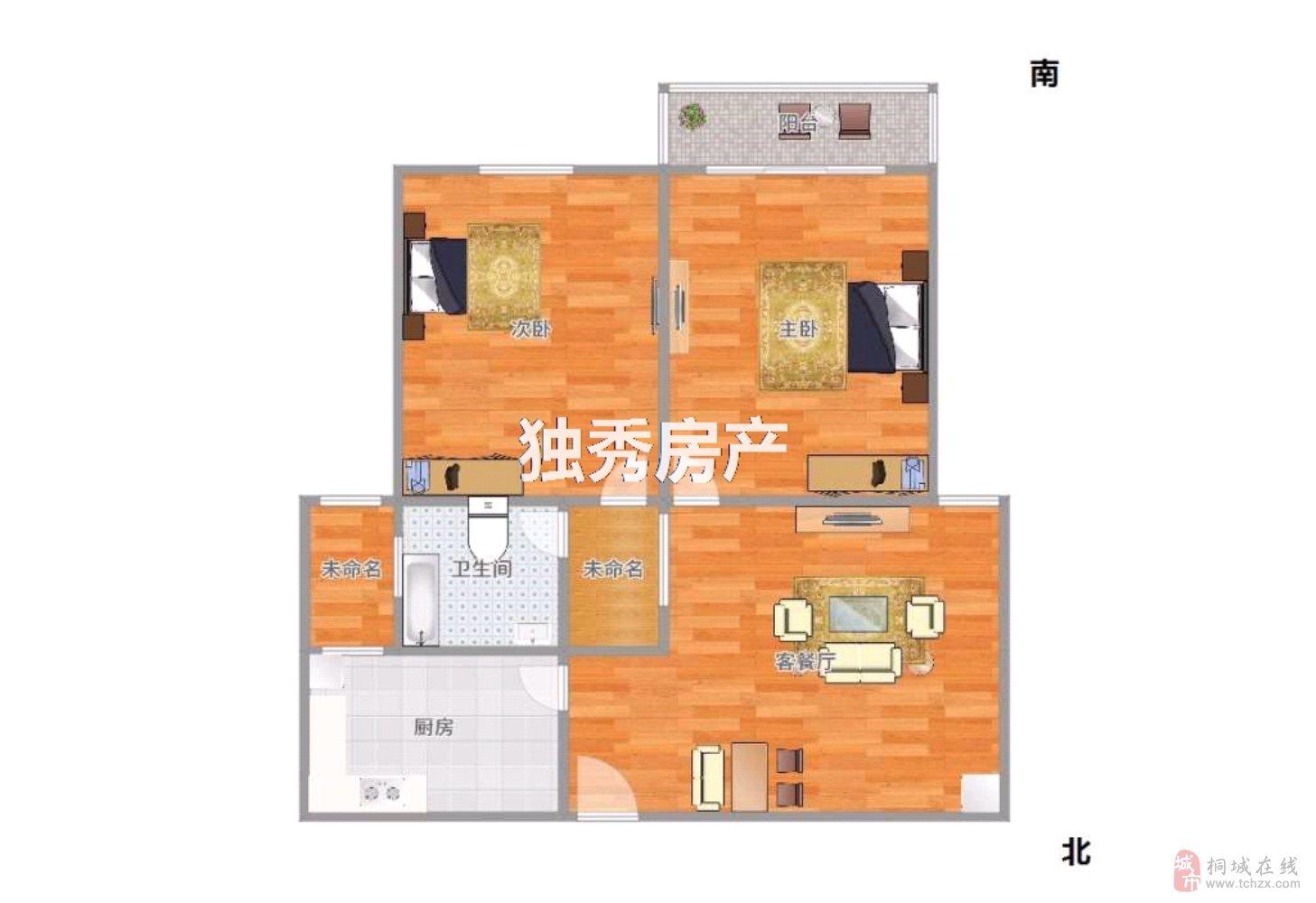滨河苑2室2厅1卫62万元