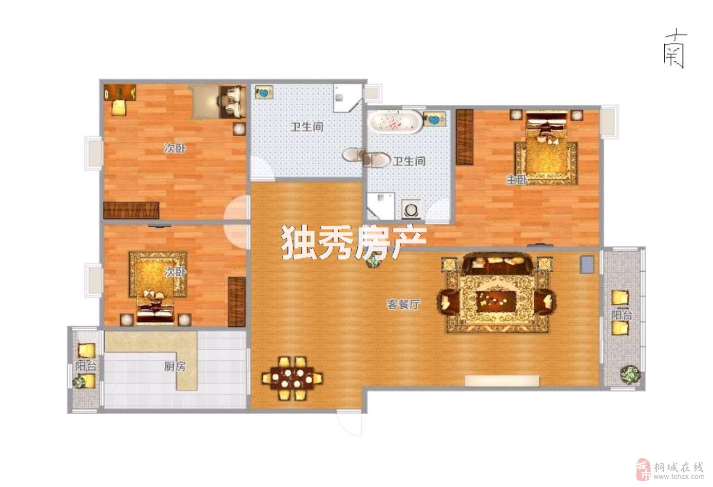 出售天红·中环银座3室2厅2卫74万元