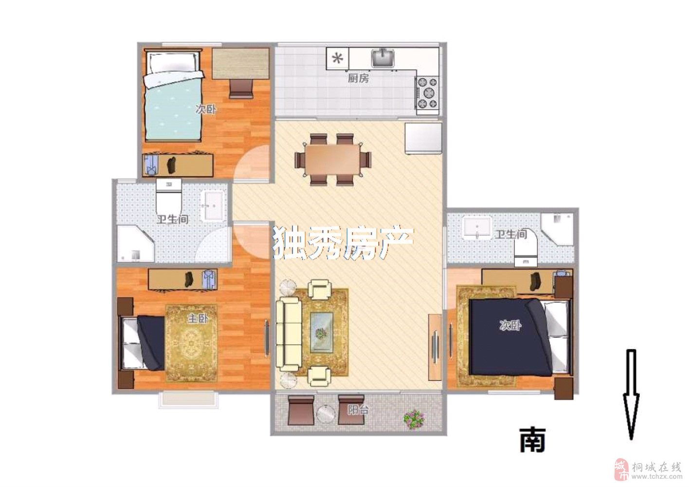 桐城人家精装三室黄金楼层二房朝南户型方正