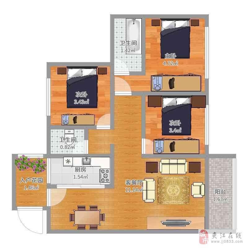 湿地公园附近3室2厅2卫36.8万元