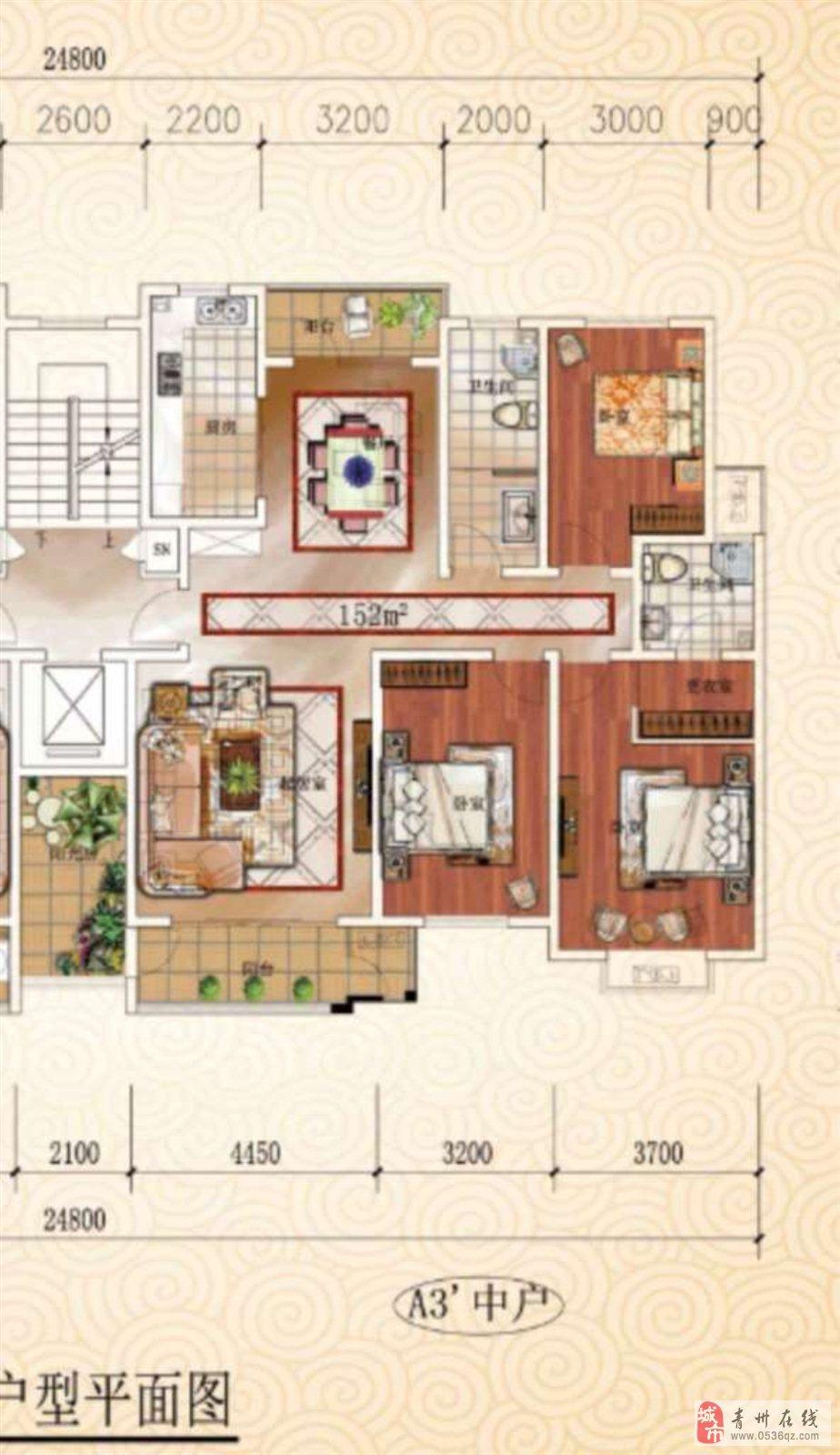 南山豪庭4楼毛坯3室153平+车库储132万