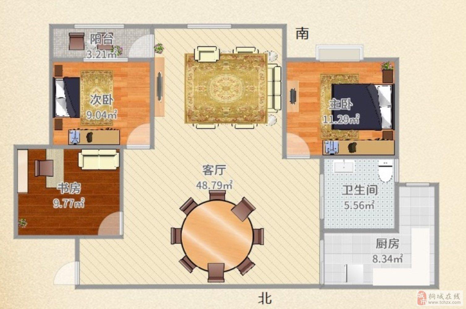桐城公馆近东关新出毛坯三房采光无遮挡诚意出售