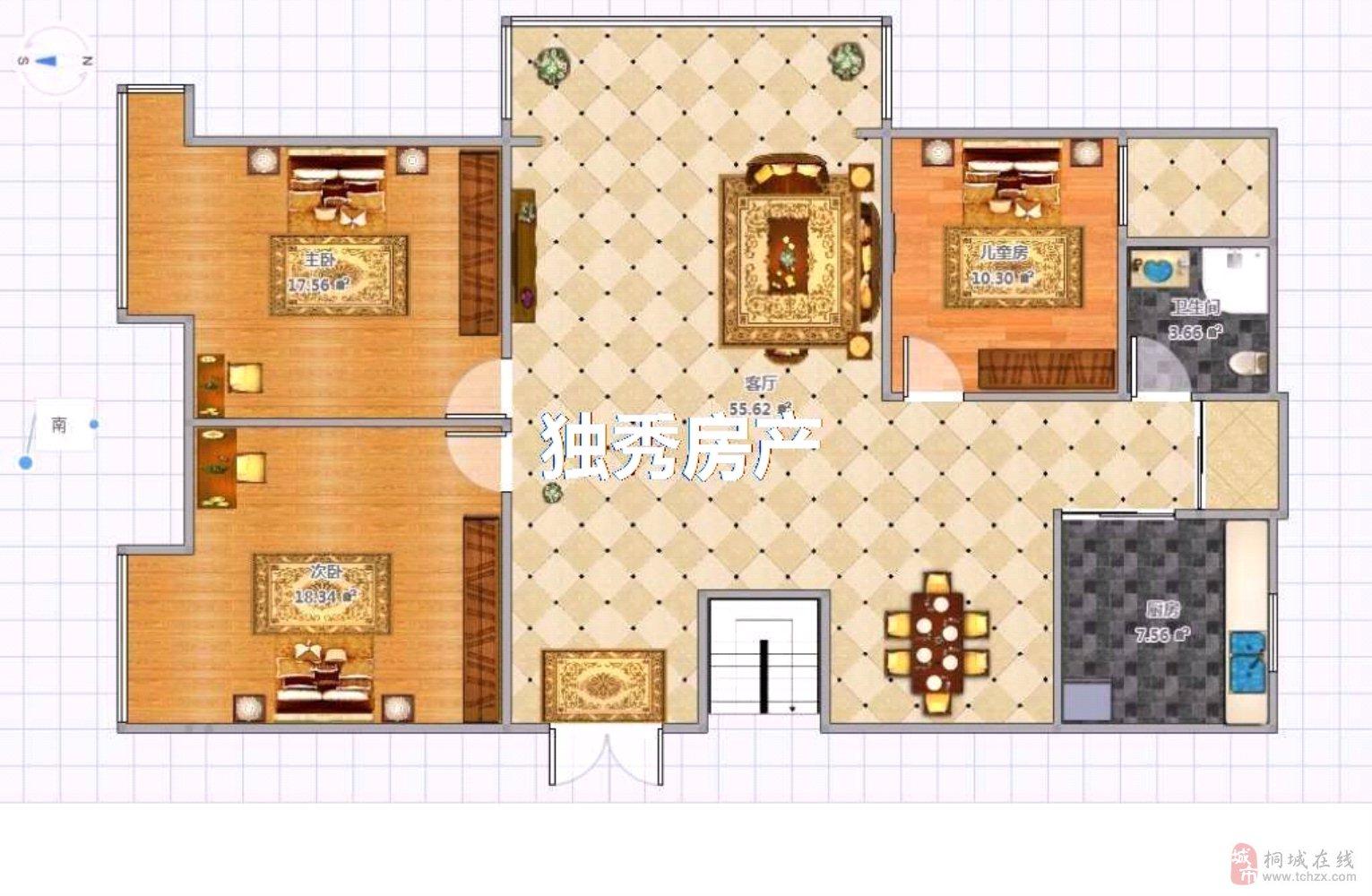 出售金瑞名城3室2厅1卫85万拎包入住诚意