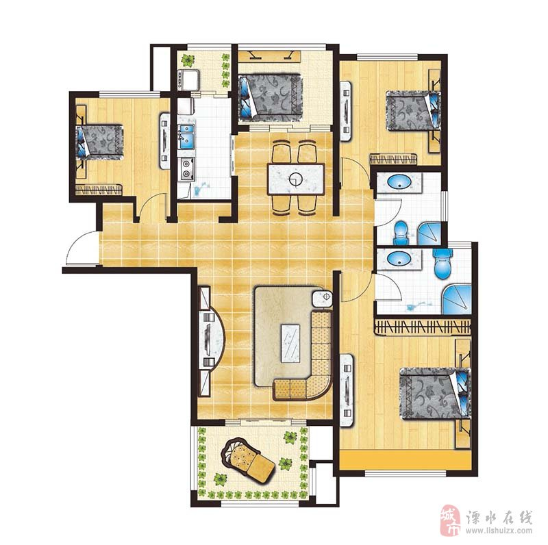 嘉德园3室2厅2卫170万元