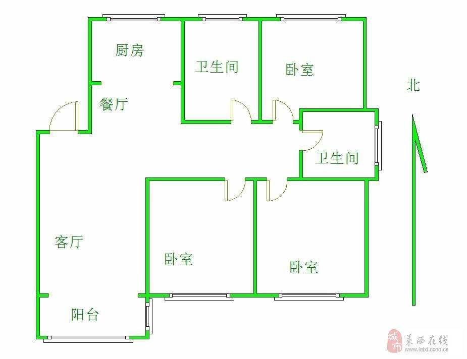 北京路翠景園電梯6樓3室2廳2衛121平84萬