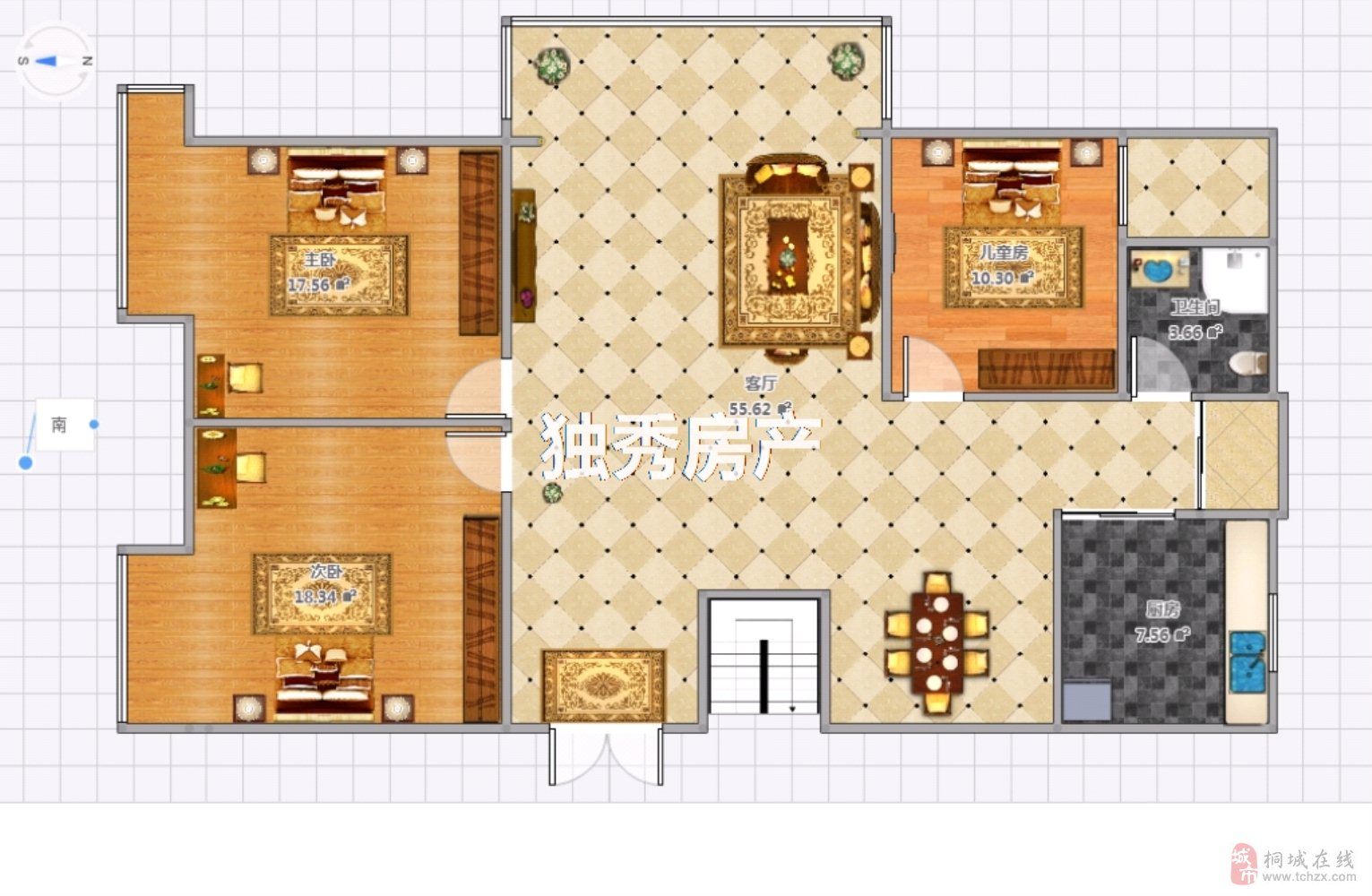 实验中学旁金瑞名城3室2厅1卫83万元
