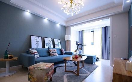 90平三居室蓝色调北欧风格