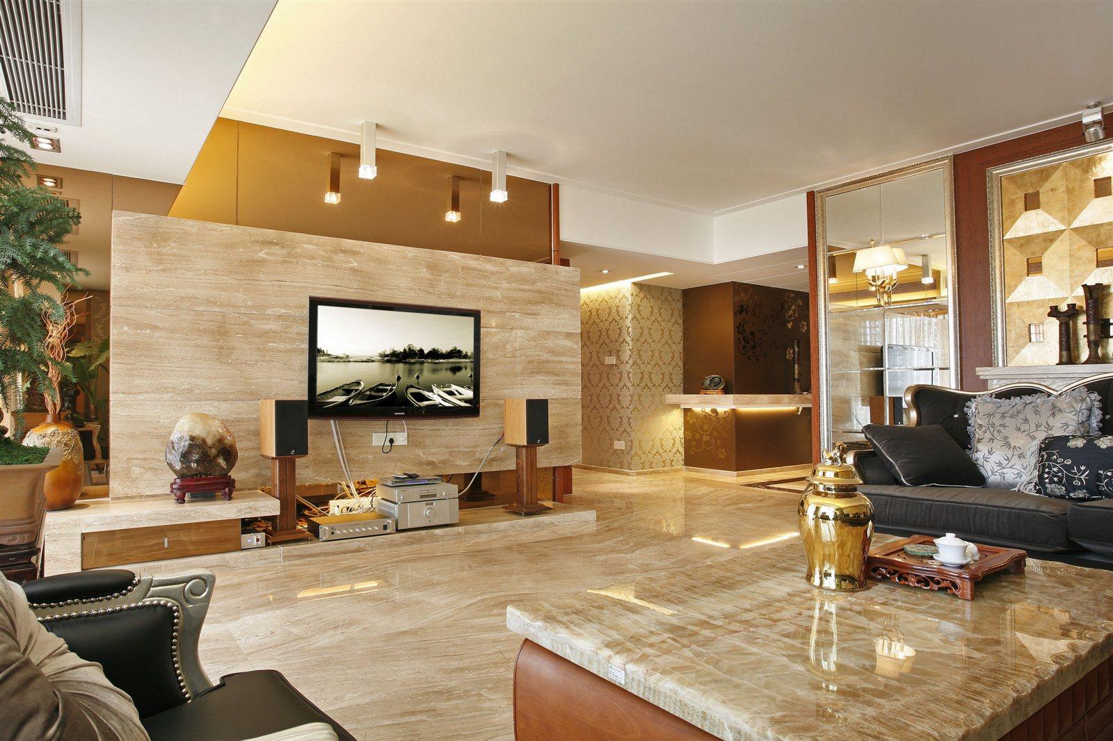 澳门新葡京赌场壹图装饰130㎡现代中式,客厅的搭配