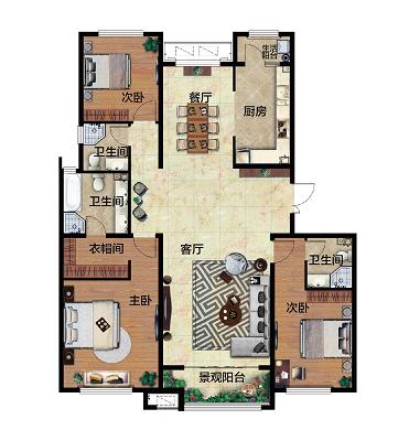 森之苑生态城3室 2厅 3卫100万元