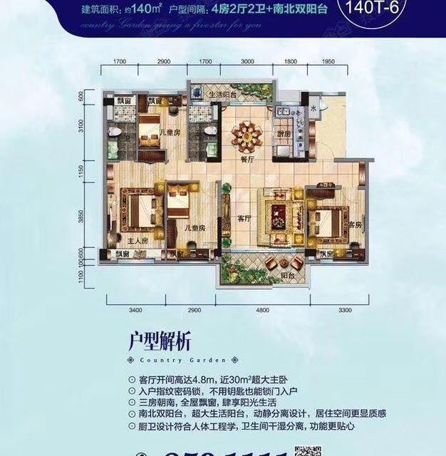 临泉·碧桂园4室 2厅 2卫96万元