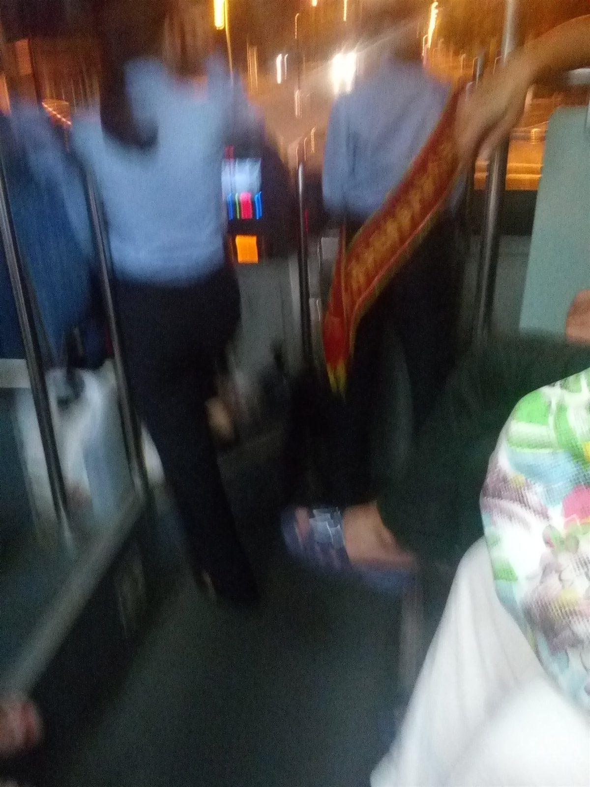 8路公交车司机在开车时跟服务员打情骂俏