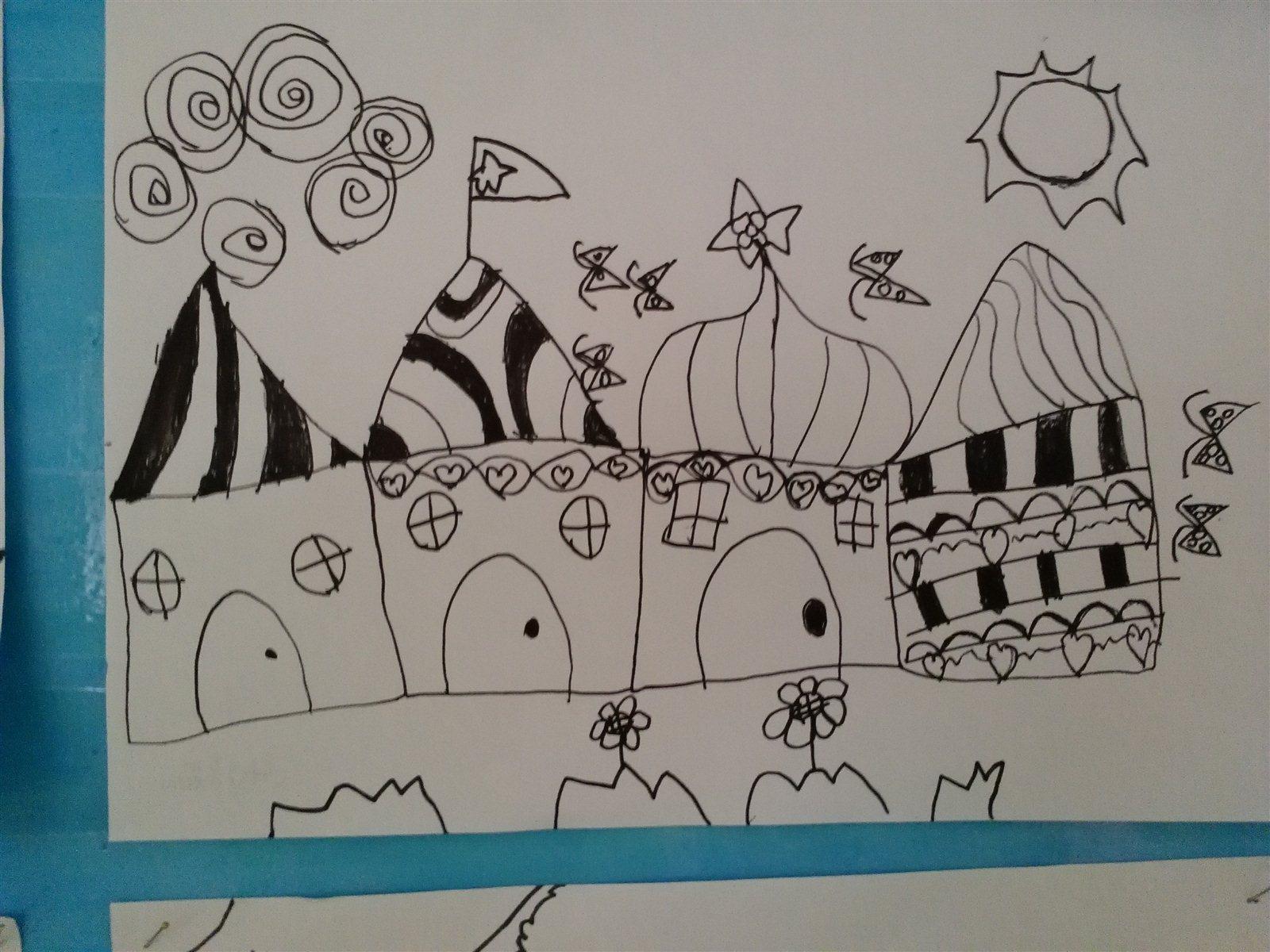 孩子们的第一次线描画作品:美丽的房子.不错吧?
