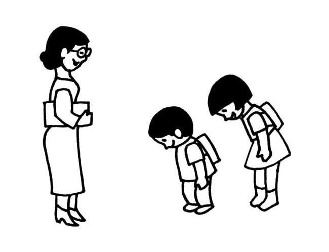 鞠躬小人,简笔画卡通,向老师表达感谢的鞠躬学生图片
